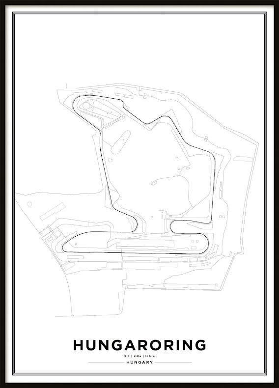 Poster, Hungaroring Formula 1 Print Vit