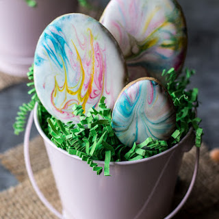 Easter Egg Sugar Cookies with Marbled Royal Icing.