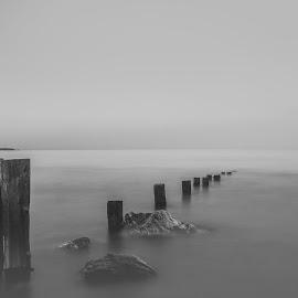 black and white dusk by John Holmes - Black & White Landscapes ( rocks, island, old, groynes, wood, black and white, long exposure, weathered, sea )