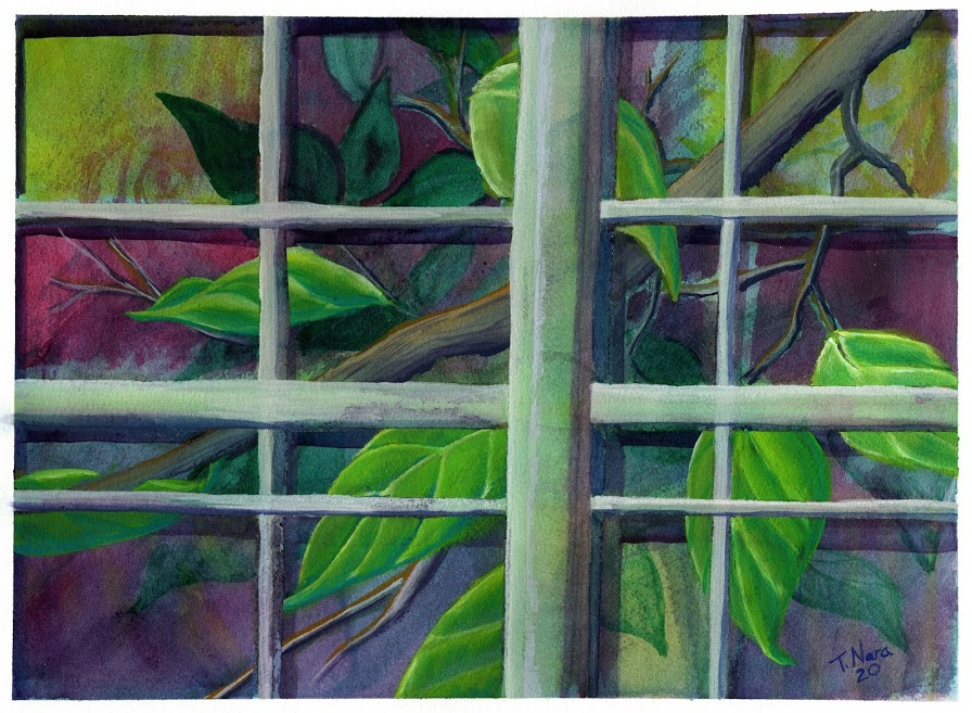 painting of a branch and leaves outside a window.