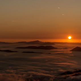 Foggy sea by Matic Cankar - Landscapes Sunsets & Sunrises ( hills, orange, foggy, autumn, fog, sea, sunrise,  )