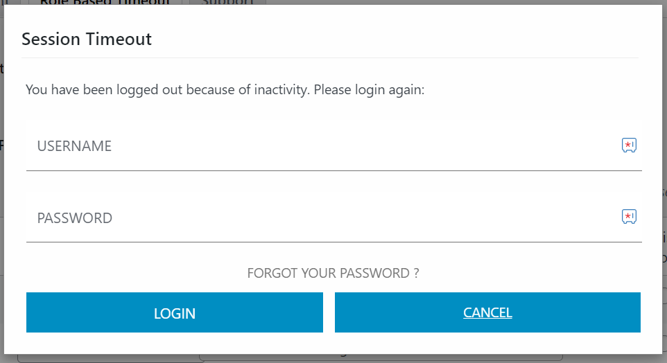 Session Timeout Login page