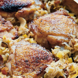 One-pot Chicken Thighs With Wild Rice And Leeks.