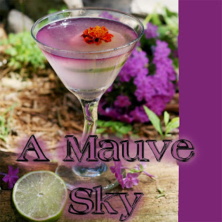 A Mauve Sky Gin Cocktail.