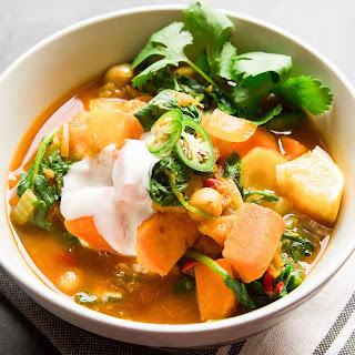 Moroccan-Spiced Sweet Potato and Chickpea Stew.