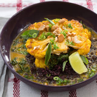 Thai Curried Cauliflower Steaks with Black Rice & Thai Basil.
