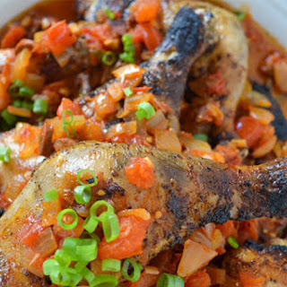 Grilled Chicken Legs with Chorizo Ragout