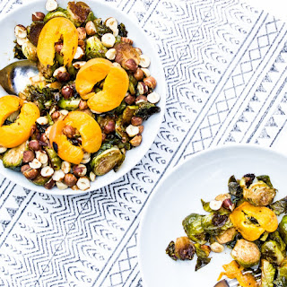 Balsamic Glazed Brussels Sprouts with Grilled Apricots + Toasted Hazelnuts.