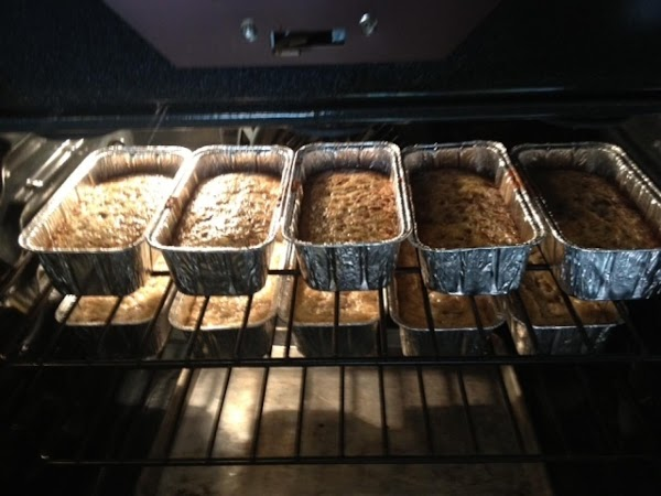 Pour into 2 LARGE loaf pans that have been coated with Crisco and flour....