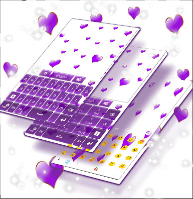 Purple Hearts Keyboard - screenshot