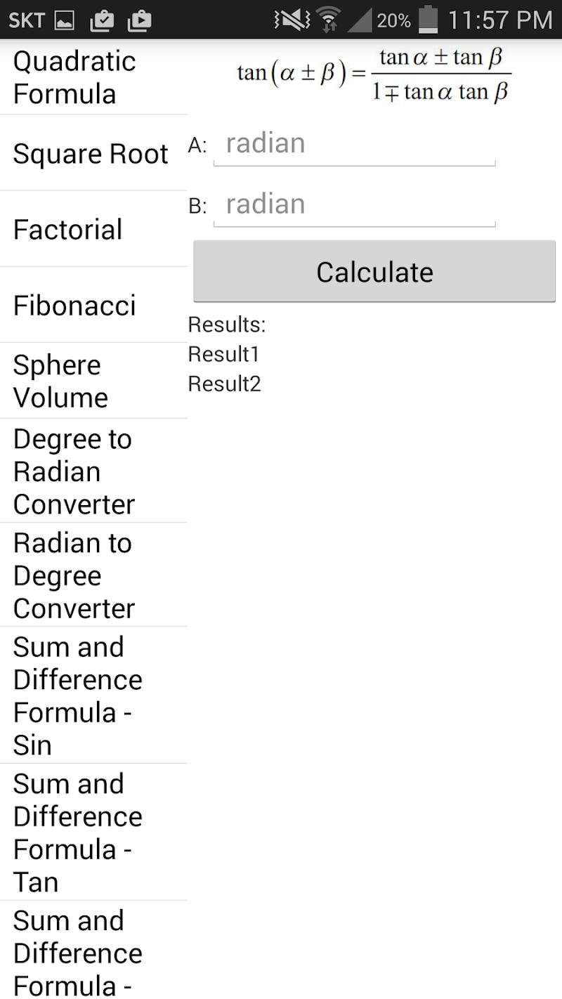 Скриншот BK Formula Calculator
