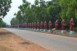 Photo: Monks lining the way