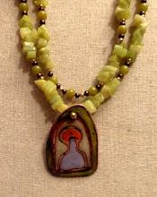 Photo: # 228 Copper enamel pendant, Korean jade, freshwater pearls, gold plate $150