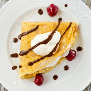 Vanilla Flavored Crepes with Morello Cherry Yogurt
