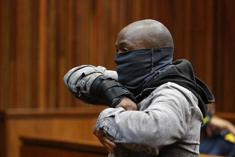 Muzikayise Malephane, accused of murdering Tshegofatso Pule, appears at the high court in Johannesburg.