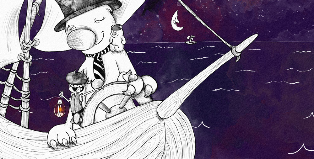 boy and monster sailing on ship with dark purple background