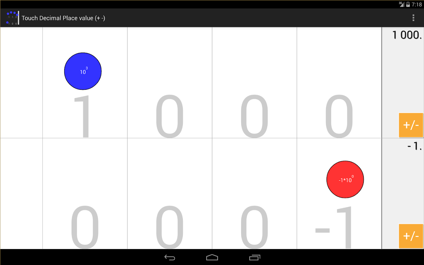 Touch decimals Place value ±- screenshot