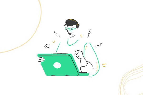 Drawing of man typing on laptop