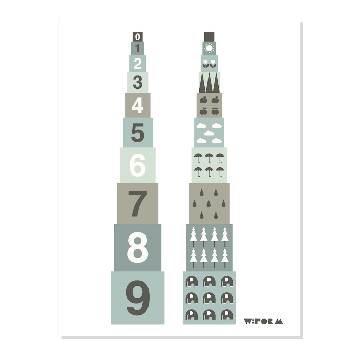 W:FORM Poster Dusty Mint Numbers