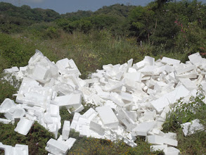Photo: Free Mini Split Packing Material was given to us by a local AC installation company, Aire Acondicionado Insa.  They were used to form high quality styrofoam blocks.