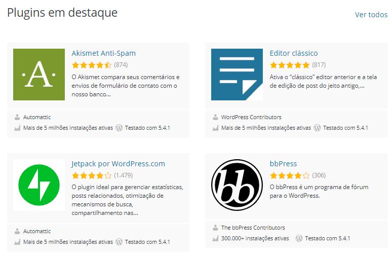 biblioteca de plugins do WordPress.org para criar um blog poderoso