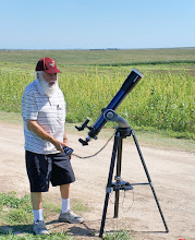Photo: Tom sets up his telescope with a solar filter.