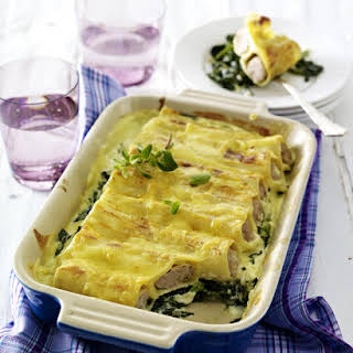 Sausage Manicotti with Spinach and Cream Sauce.