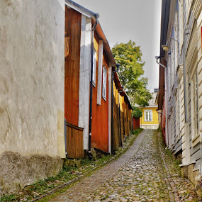 Porvoo by Debra Graham - City,  Street & Park  Street Scenes ( cobblestone street, porvoo, finland, street scene, historic porvoo )