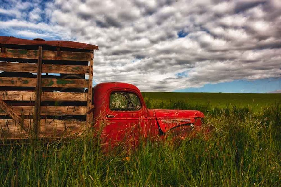 Old Red Truck by Anne Marie Hickey - Transportation Automobiles