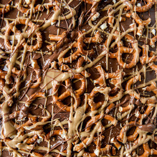 Pretzel Peanut Butter Stuffed Chocolate Bark