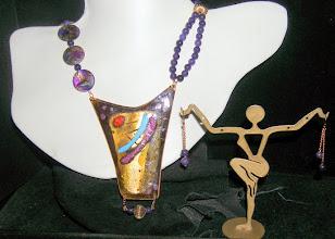 Photo: <BEREHYNYA> {Great Goddess Protectress} unique one-of-a-kind statement jewellery by Luba Bilash ART & ADORNMENT  #98 - SUN DANCE ~ ТАНЕЦЬ ПІД СОНЦЕМ - copper enamel pendant; shell; quartzite; 14K gold vermeil $160/set SOLD
