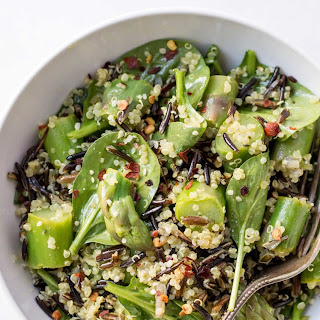 Asparagus, Wild Rice + Quinoa Salad with Lemon-Turmeric Vinaigrette.