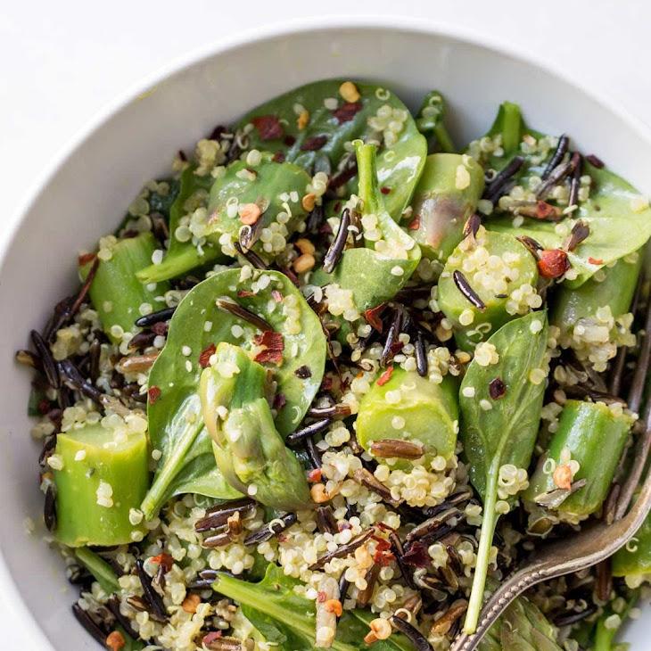 Asparagus, Wild Rice + Quinoa Salad with Lemon-Turmeric Vinaigrette Recipe