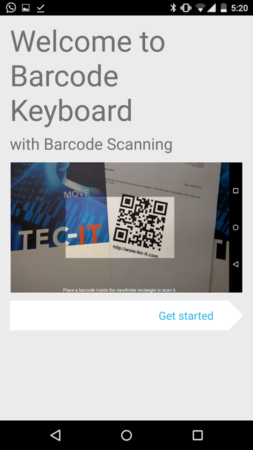 Barcode Keyboard + NFC, Demo- screenshot