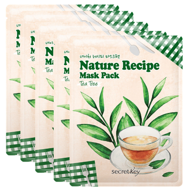 [SECRET KEY] Nature Recipe Mask Pack Tea Tree 20g Elastic x 5 (5 pieces skin) by Supermodels Secrets