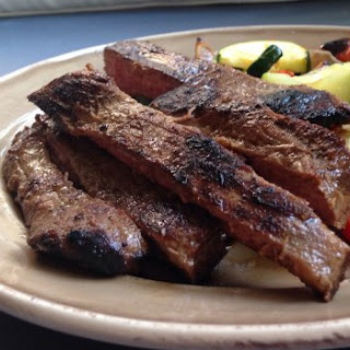 Perfectly Simple Marinated Flank Steak with Broiled Veggies.