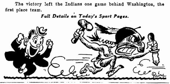 "On May 3, 1932, this small image appeared on the front page of the Cleveland Plain Dealer. photo credit: Cleveland Plain Dealer via Belt Magazine June 19th, 2014, ""The Secret History of Chief Wahoo."" (http://beltmag.com/secret-history-chief-wahoo/)"