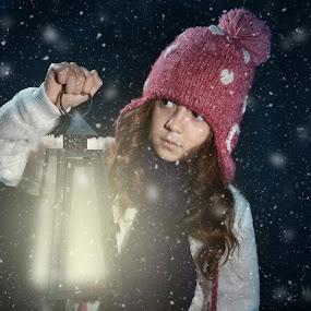 Winter breeze by Tiberiu Stefan  Simion - Digital Art People ( child, breeze, winter, cold, freeze, snow, white, night, day, black )
