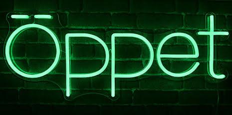Öppet Led Grön Stor