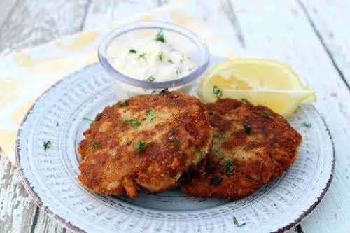 """Tuna Patties With Lemon-Dill Sauce""""I crave Tuna Patties at times and this..."""