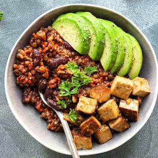 Enchilada Power Bowls with Spicy Tofu.