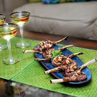Lamb Lollipops with Minty Red Currant Jam & Cashews.