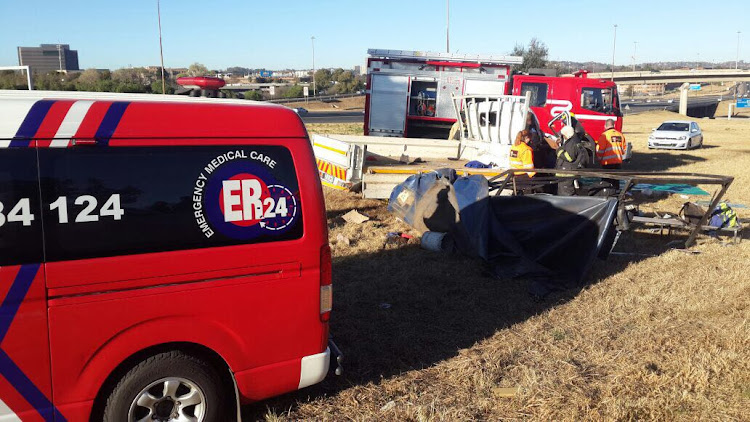 Passengers were flung off a rolling truck in Johannesburg on Thursday.