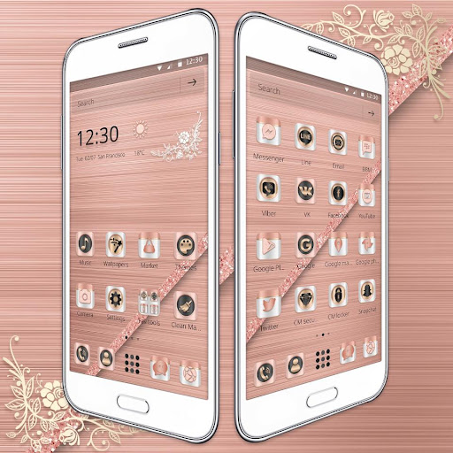 (FREE) Rose Gold Luxury Launcher Theme 1.1.1 screenshots 2