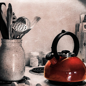 A Little Red Teapot by Bill Wagner - Artistic Objects Still Life ( teapot, red, texture, still life, abbstract )