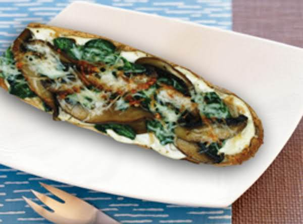 Portobello Mushroom And Spinach Tartines With Roasted Garlic Spread Recipe