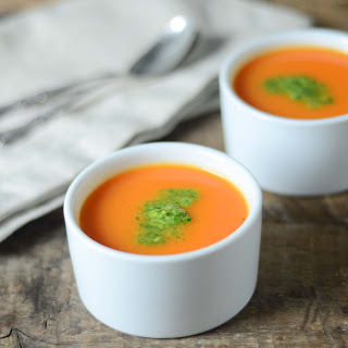 Apple And Carrot Soup With Cilantro-peanut Chutney