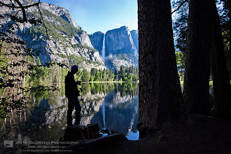 Photo: Photographer in Front of a Yosemite Falls Reflection Normally this large body of still water is a meadow, but it was flooded from a rapid snow melt.