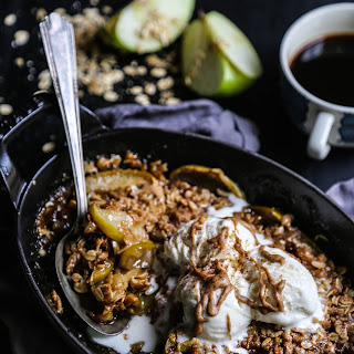 Apple Bourbon Oatmeal Cookie Crisp with Melted Nut Butter