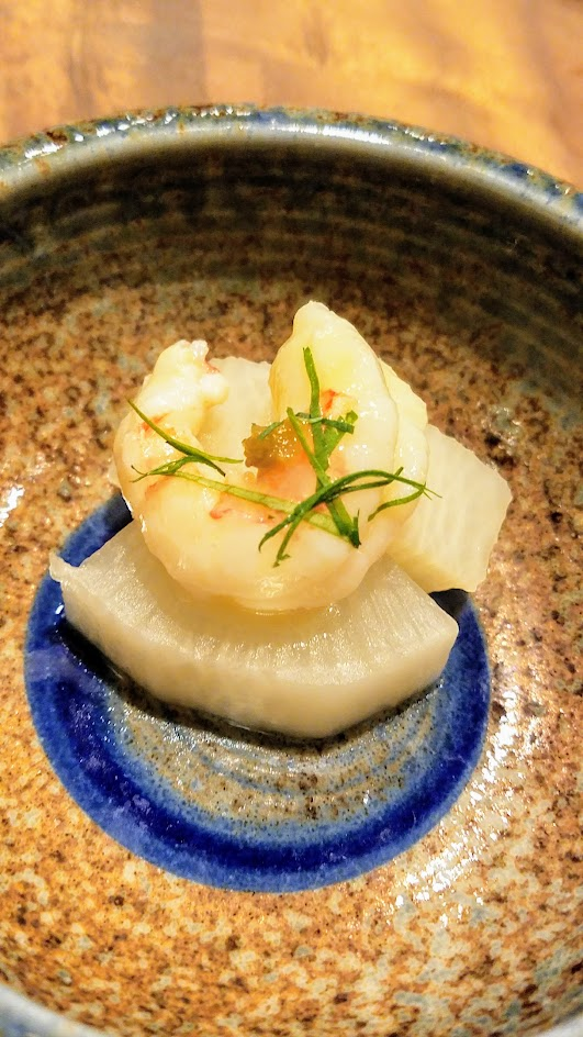 Nodoguro Princess Mononoke Sousaku Fourth Course: Daikon cooked in rice water with Canadian Prawn and fermented yuzu skin and Japanese Parsley